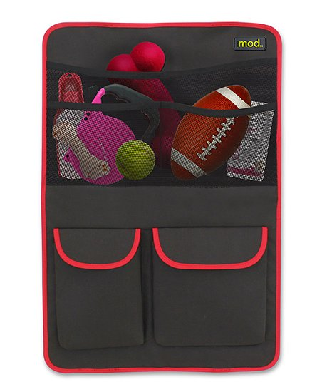 Gray & Red Pet Car Organizer