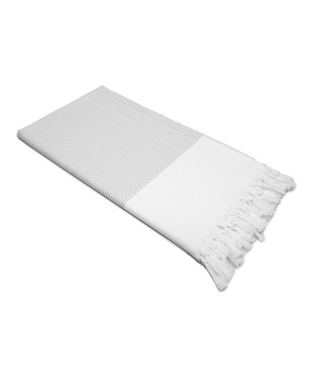Gray & White Stripy Pestemal Blanket