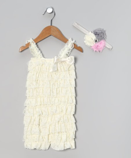 Cream Ruffle Romper & Headband