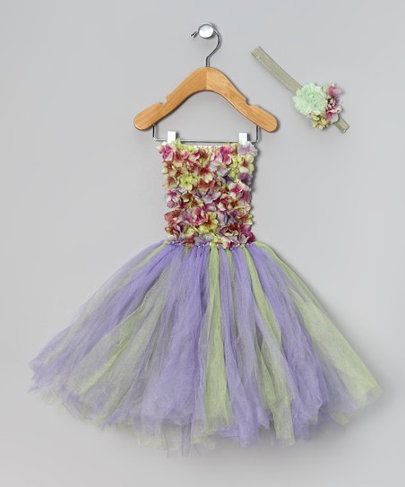 Purple Meadow Flower Dress & Headband