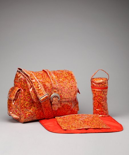 Orange Posey Paisley Laminated Buckle Diaper Bag