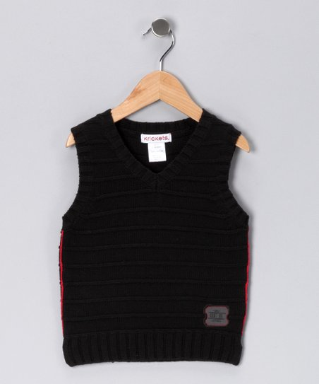 Black Knit Silver Screen Sweater Vest - Toddler & Boys