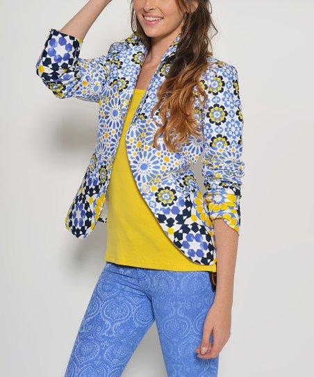 Blue Daisy Geometric Blazer