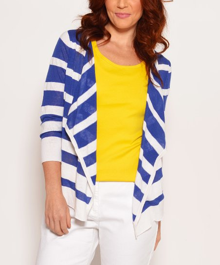 Ink & White Stripe Linen-Blend Open Cardigan