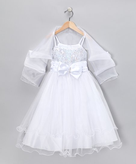 White Bow Dress & Shawl - Toddler & Girls