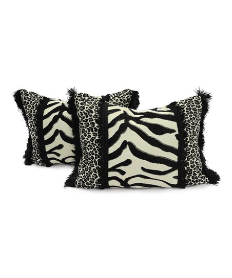 Black & White Cat Chawagga Pillow - Set of Two
