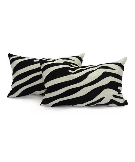 Black & White Cwagga Chainstitch Boudoir Pillow - Set of Two