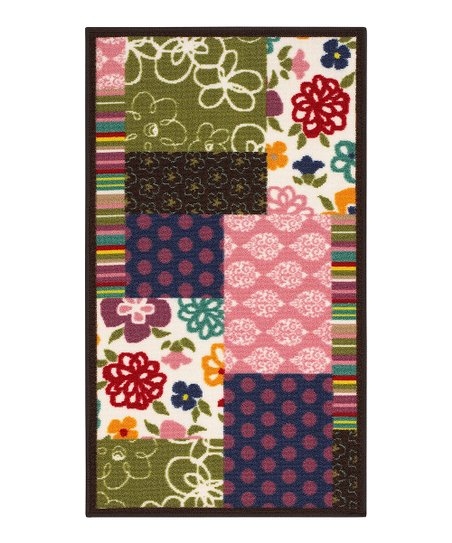 zulily-Exclusive Flowers & Stripes Patchwork Rug