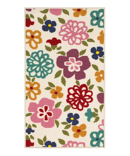 zulily-Exclusive Ivory Cheerful Blossom Rug