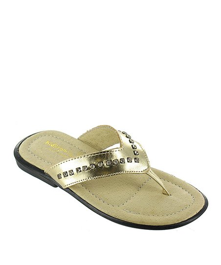Gold Metallic Arianna Leather Flip-Flop