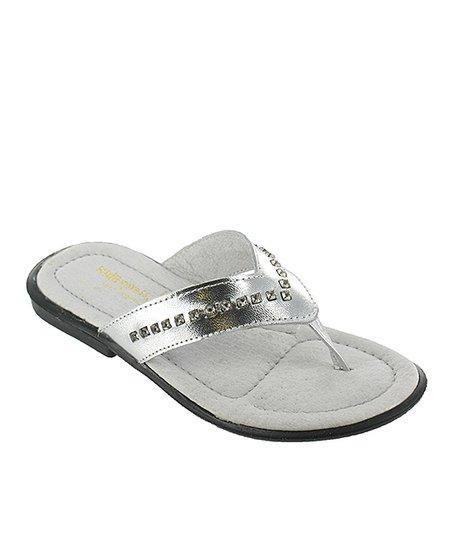 Silver Metallic Arianna Leather Flip-Flop