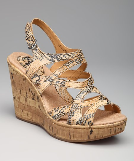 Natural Snakeskin Cork Wedge Brygida Sandal