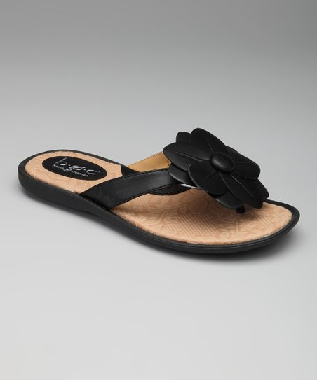 Black Gilliflower Flip-Flop