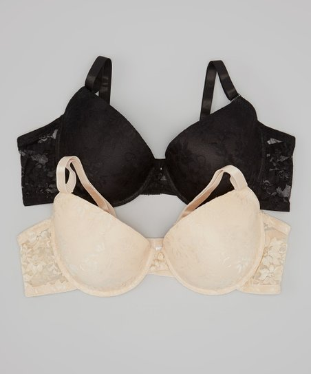 Skin & Black Lace Bra Set - Plus