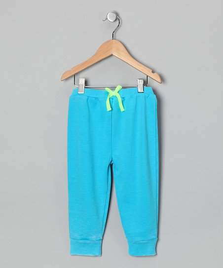 Turquoise Acid Wash French Terry Pants - Infant