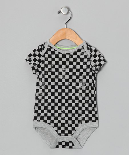 Gray &amp; Black Checkerboard Bodysuit - Infant