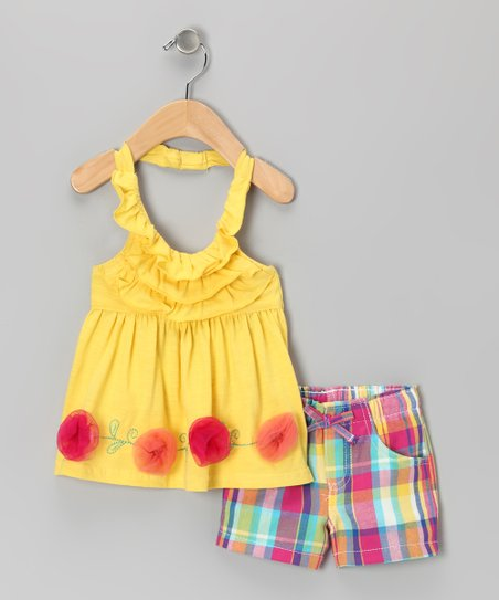 Yellow Rosette Halter Tunic & Shorts - Toddler