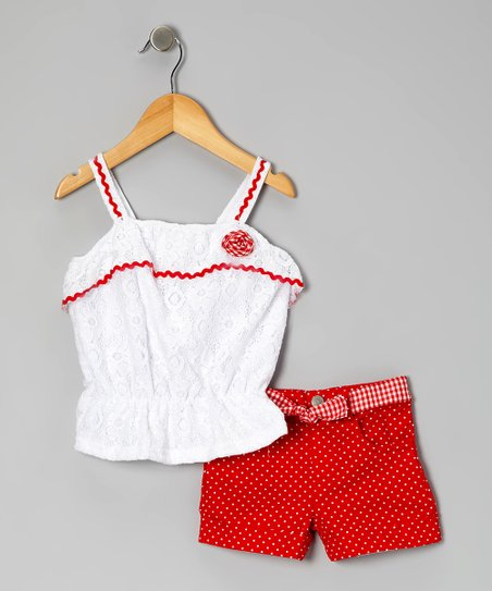 Red Lace Tank & Polka Dot Shorts - Toddler
