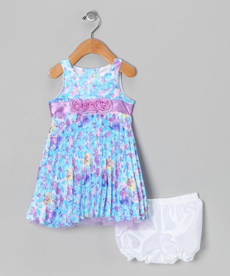 Purple Floral Pleated Dress & Diaper Cover - Infant