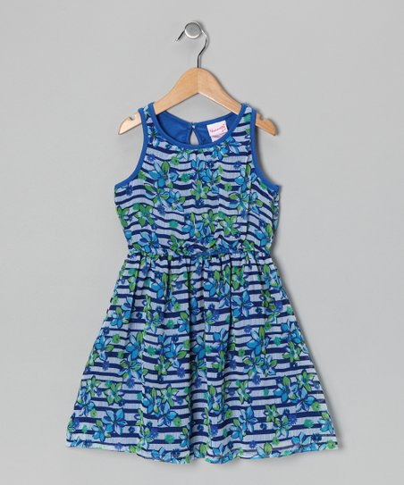 Blue Floral Stripe Dress - Infant, Toddler & Girls