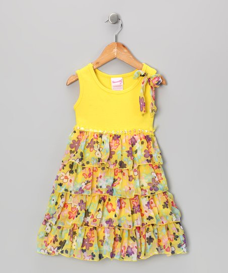 Yellow Floral Tiered Ruffle Dress - Infant, Toddler & Girls