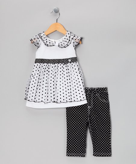 Black & White Polka Dot Tunic & Pants - Infant, Toddler & Girls