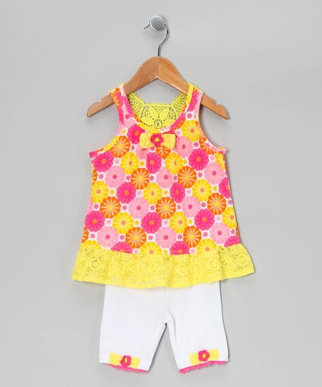Yellow &amp; Pink Floral Tunic &amp; Shorts - Infant &amp; Toddler