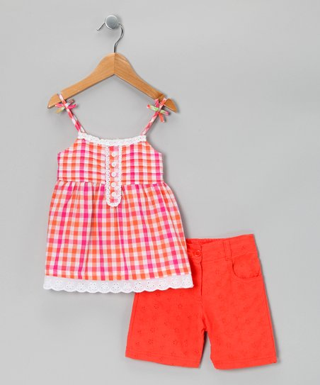 Pink Plaid Tunic & Shorts - Infant