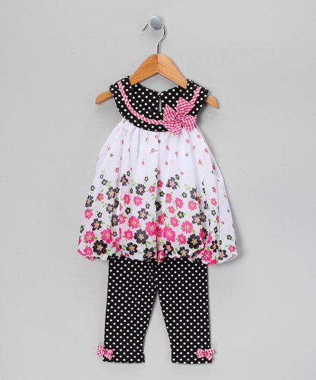 Black & Pink Polka Dot Bubble Tunic & Pants - Infant