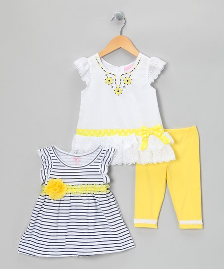 Yellow Stripe Pants Set - Toddler