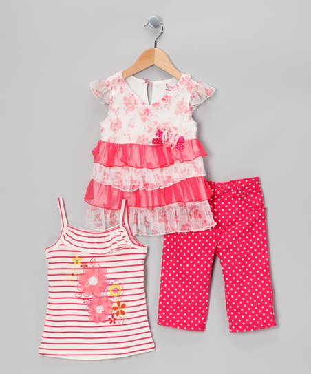 Pink Polka Dot Pants Set - Toddler & Girls