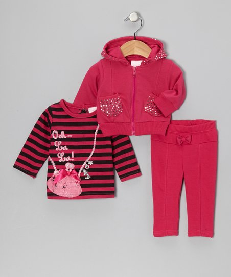 Pink Stripe Hoodie Set - Infant