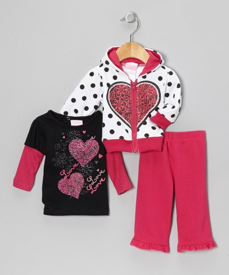 Pink & White Polka Dot Zip-Up Hoodie Set - Infant