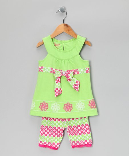 Green & Pastel Pink Floral Dress & Pants - Infant & Toddler