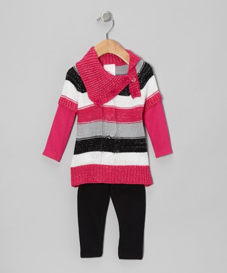 Pink Stripe Sweater Tunic & Black Leggings - Infant