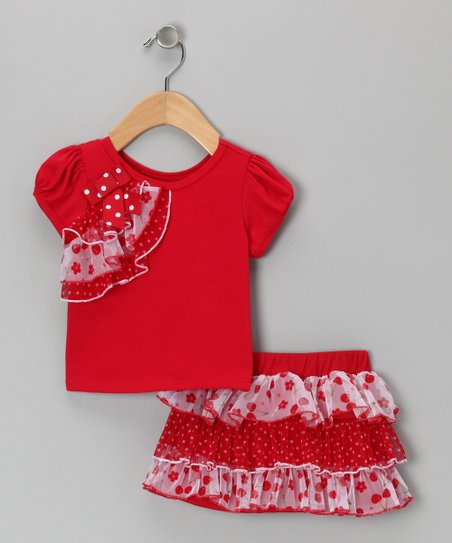 Red Ruffle Top & Skirt - Infant