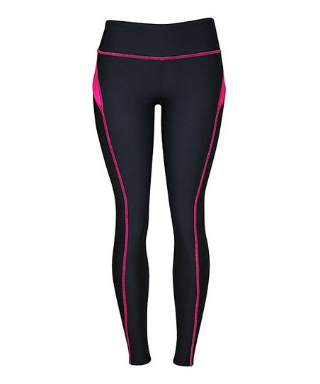 Hot Pink & Black Active Colored Side Leggings