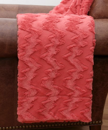 Spiced Coral Zigzag Sculpted Throw