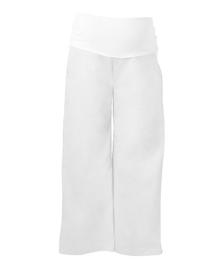 White Sailor Mid-Belly Maternity Crop Pants