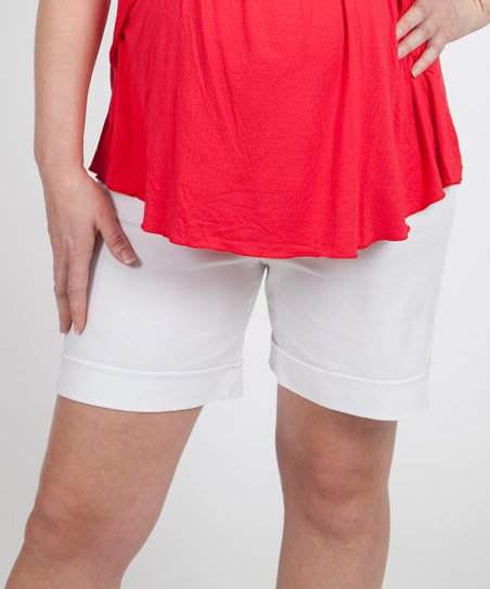 White Denim Over-Belly Maternity Shorts