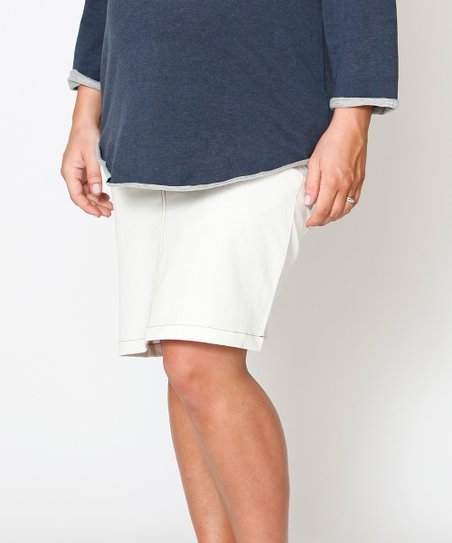 White Denim Essential Under-Belly Maternity Skirt