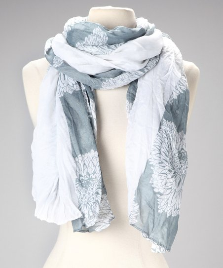 Light Blue &amp; White Floral Scarf