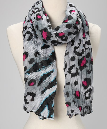 Gray &amp; Pink Zebra &amp; Leopard Scarf