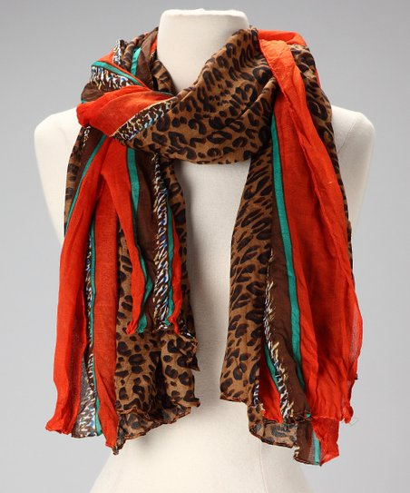 Tan &amp; Orange Leopard Scarf
