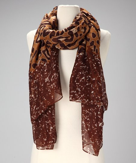 Tan &amp; Brown Leopard-Print Scarf