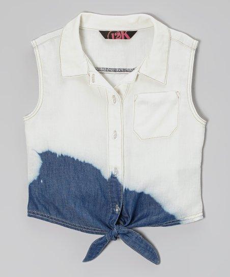 Bleach Dye Button-Up Vest – Toddler & Girls