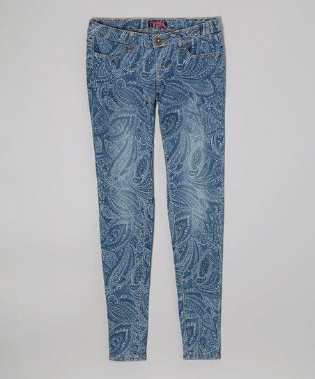 Light Blue Paisley Jeans – Girls