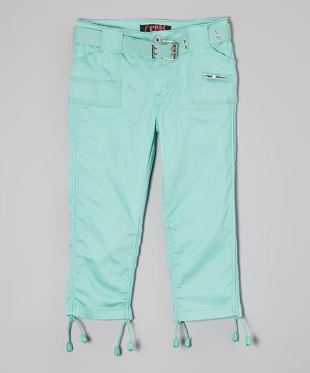 Mint Sateen Capri Pants – Girls