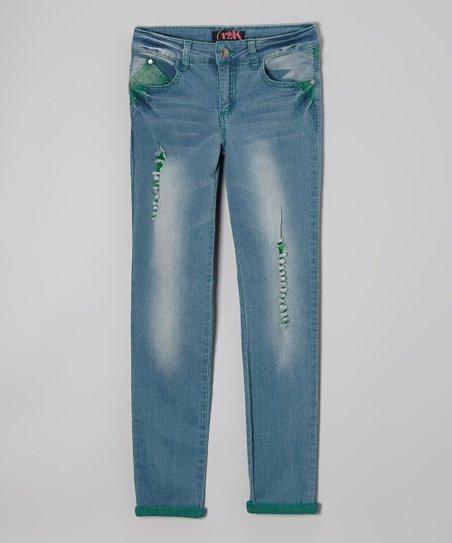 Blue & Green Stone Wash Denim Jeans – Girls