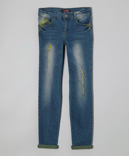Blue & Yellow Stone Wash Denim Jeans – Girls